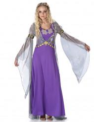 Déguisement princesse médiévale violette femme