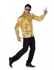 Chemise disco à sequins dorés homme