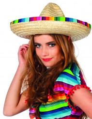 Sombrero paille à bordure multicolore adulte