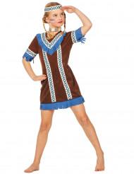Déguisement indienne à franges bleues fille