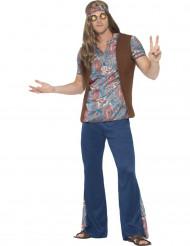 Déguisement hippie peace bleu homme