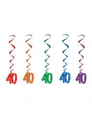 5 Suspensions en spirale 40 ans multicolores 91 cm