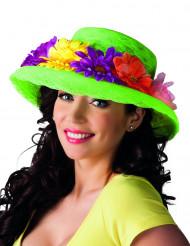 Chapeau vert avec fleurs Hawaï adulte