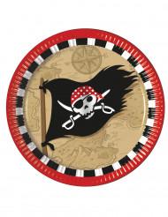 8 Assiettes en carton Carte au trésor Pirate