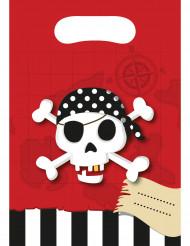 6 Sacs cadeaux Carte au trésor Pirate 16.5 x 23 cm