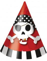 6 Chapeaux de fête carton Carte au trésor Pirate
