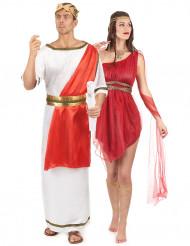 Déguisement de couple romain rouge adulte