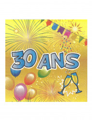 20 Serviettes en papier 30 ans Anniversaire Fiesta 33 cm