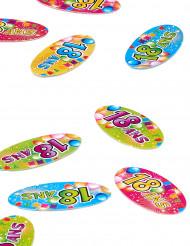 80 Confettis de table papier 18 ans Fiesta 4 x 2 cm