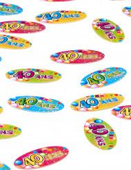 80 Confettis de table papier 40 ans Fiesta 4 x 2 cm