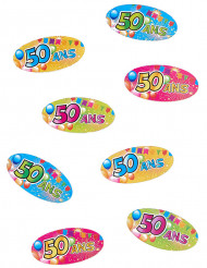 80 Confettis de table 50 ans Fiesta 4 x 2 cm