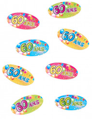 80 Confettis de table 60 ans Fiesta 4 x 2 cm
