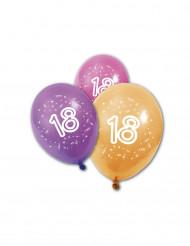 8 Ballons en latex anniversaire 18 ans 30 cm