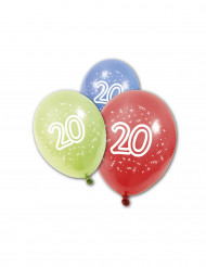8 Ballons en latex anniversaire 20 ans 30 cm