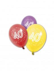 8 Ballons en latex anniversaire 40 ans 30 cm