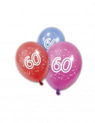 8 Ballons en latex anniversaire 60 ans 30 cm