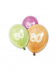 8 Ballons en latex anniversaire 80 ans 30 cm