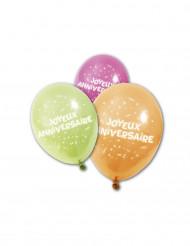 8 Ballons en latex Joyeux anniversaire 25 cm