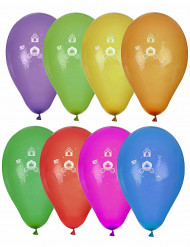 8 Ballons imprimés princesse multicolores
