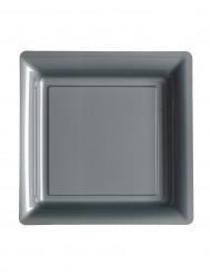 12 Petites assiettes carrées en plastique gris argent 18 cm