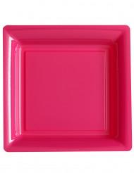 12 Assiettes carrées en plastique fuchsia 23.5 cm
