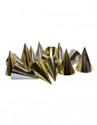 100 Chapeaux pointus métallisées or et argent