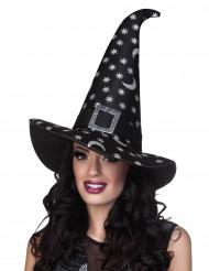 Chapeau sorcière étoiles argentées femme Halloween