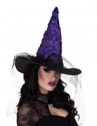 Chapeau sorcière noir et violet femme Halloween
