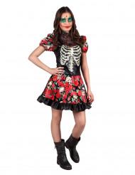 Déguisement squelette et roses adolescente Dia de los muertos
