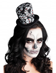 Mini chapeau haut de forme têtes de mort femme Halloween