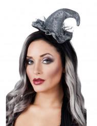 Mini chapeau sorcière argent femme Halloween