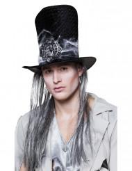 Chapeau haut de forme squelette avec cheveux adulte Halloween