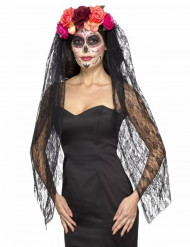 Voile avec fleurs colorées luxe femme Dia de los muertos