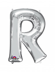 Ballon aluminium Lettre R argenté 33 cm