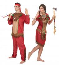 Déguisement de couple indien rouge adulte