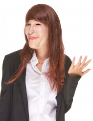 Masque humoristique en latex avec perruque Carla adulte