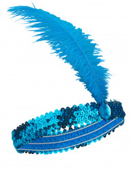 Bandeau Charleston à sequins et plume bleu femme
