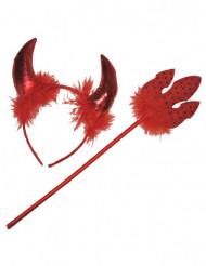 Kit diablesse rouge avec plumettes adulte Halloween