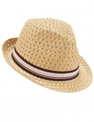 Chapeau borsalino ajouré avec bande tricolore adulte