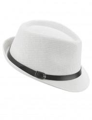 Chapeau borsalino blanc luxe avec boucle adulte