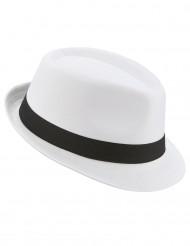 Chapeau borsalino blanc bande noire adulte