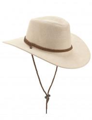Chapeau cowboy luxe beige en suede adulte