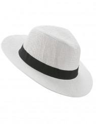 Chapeau Panama blanc avec bande noire adulte