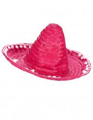 Sombrero rose à bordure pompons adulte