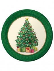 8 Assiettes Sapin de Noël 23 cm