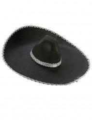 Sombrero noir bordure argentée adulte