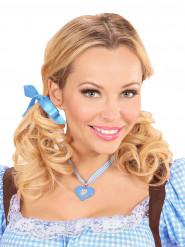 Collier coeur bavarois bleu femme Fête de la bière