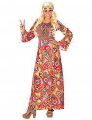 Déguisement robe longue hippie multicolore femme
