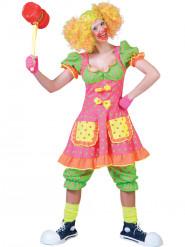 Déguisement clown fluo à pois femme