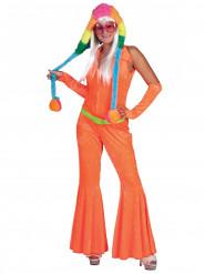 Déguisement combinaison orange fluo femme